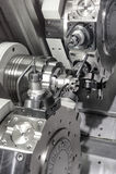 Tornio, fresatura di CNC Fotografie Stock