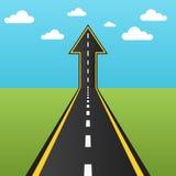 Tornitura della strada in una freccia su Fotografie Stock