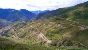 72 torniture della strada 318, il modo a Lhasa, Tibet Fotografie Stock Libere da Diritti