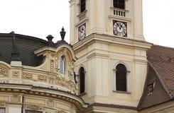 Tornklocka i Sibiu Arkivbild