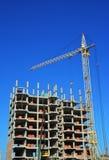 Tornkran med industribyggnadkonstruktionsplatsen med leverantörer på överkanten Royaltyfri Foto