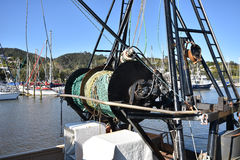 Tornos netos en la nave de la pesca Imagenes de archivo