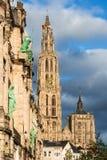 Tornspira av domkyrkan av vår dam, Antwerp, Belgien Royaltyfri Fotografi