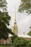 Tornspiran av Peter och Paul Cathedral i St Petersburg Arkivbilder