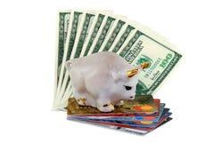 Toro con i corni dell'oro su soldi e creditcard bianchi Fotografia Stock Libera da Diritti