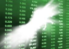 Toro con il grafico del mercato azionario Fotografia Stock
