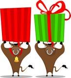 Toro de la historieta y rectángulo de regalo Imagen de archivo libre de regalías