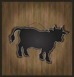 toro de la vaca del menú de la pizarra Fotos de archivo libres de regalías