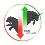 Toro del concepto del mercado de acción contra oso con arriba y abajo de la flecha stock de ilustración