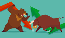 Toro del mercado de acción contra oso