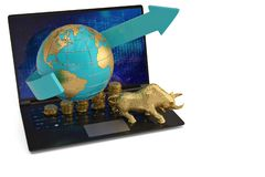 Toro del oro y pilas y globo de la moneda con el ordenador portátil en el backgro blanco libre illustration