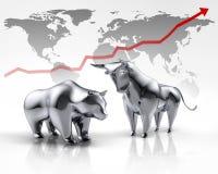 Toro e ribassista d'argento - mercato azionario di concetto illustrazione di stock