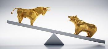 Toro e ribassista dorati - mercato azionario di concetto su e bassi royalty illustrazione gratis