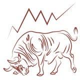 Toro e tendenza fiduciosa del mercato azionario Fotografia Stock