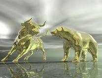 Toro ed orso Immagini Stock