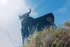 Toro Osborne, iconic symbol of Spain, silhouette of black bull o stock images