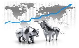 Toro y oso brillantes de plata - mercado de acción del concepto libre illustration