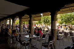 TORO (ZAMORA), SPAIN – AUGUST 25, 2012:. Terraces Bar in the arcade, next to City Hall during the celebration of the feast day of St. Augustine on August 25th Stock Images