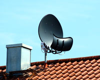 Toroidal Satellite Antenna. A toroidal satellite antenna with main and sub reflector and four LNBs Stock Image