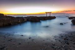 Toroii Ibaraki Japan. Toroii Japanese shrine gate sunrise at sea Oarai city , Ibaraki Japan stock image