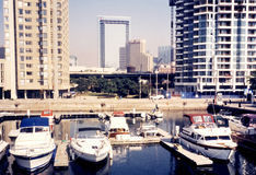 Toronto湖小船2002年 库存照片