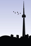 Toronto. Silhouette of CN Tower in Toronto Royalty Free Stock Photo