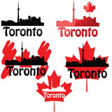 Toronto. Set of icons using the Toronto skyline and the Canadian maple leaf Royalty Free Stock Photo