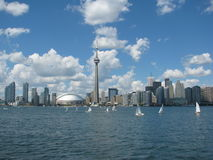 Toronto. Skyline and lots of small sailboats royalty free stock photography