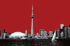 Toronto. Downtown lake view on red background Royalty Free Stock Photography