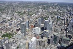 Toronto Aerial View from the Canadian National Tower. Aerial View of Toronto City from Ontario province in Canada on 24th June 2017 Stock Photography