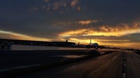 Toronto airport sunrise stock photo