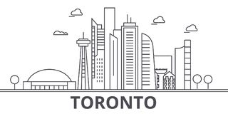 Toronto architecture line skyline illustration. Linear vector cityscape with famous landmarks, city sights, design icons. Editable strokes Royalty Free Stock Photos