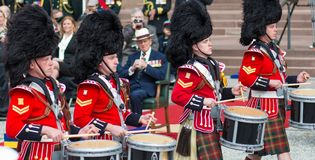 Toronto Bicentennial Commemoration of the Battle o. TORONTO-APRIL 27: Prince Philip, Duke of Edinburgh presents new Colours to The Royal Canadian Regiment.  The Royalty Free Stock Image