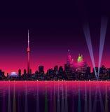Toronto bij Nacht - Vectorillustratie Stock Foto's