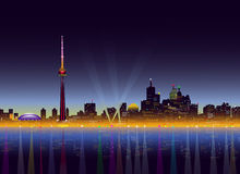 Toronto bij Nacht - Vectorillustratie Royalty-vrije Stock Foto's