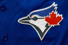 Toronto Blue Jays baseball close up to their logo on a jersey