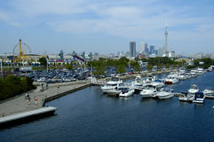 Toronto Boats. Boats on toronto harbour with no license plates, logos, or phone numbers visible Royalty Free Stock Photos