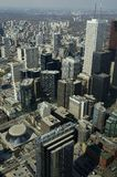 Toronto Buildings. Aerial view of downtown Toronto with all building logos removed Stock Photos
