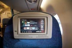 TORONTO, CANADÁ - 28 de janeiro de 2017: Assentos da classe executiva de Air Canada dentro de um Embraer ERJ-190 da C.A. Ar Canad Fotos de Stock Royalty Free