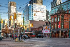 Toronto, Canada – December 4th 2018 - Toronto streets with crowd and public traffic in the fall, early winter