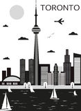 Toronto. Canada. Toronto Canada in black and white colors. Vector Royalty Free Stock Photo