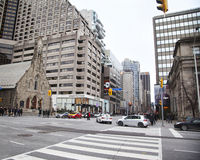 TORONTO, CANADA- DECEMBER 26, 2015: A view on anan intersection Royalty Free Stock Photos