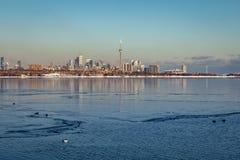 Toronto, CANADA - February 1th, 2019: Panoramic Canadian winter landscape near Toronto, beautiful frozen Ontario lake at sunset. Panoramic Canadian winter royalty free stock image