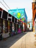 TORONTO CANADA - 2015: Graffitisteeg stock afbeelding
