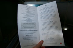 TORONTO, CANADA - JAN 21st, 2017: Air Canada Business Class in-flight meal menu Royalty Free Stock Image