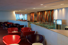 TORONTO, CANADA - JAN 21st, 2017: airport interior, Air Canada Maple Leaf Lounge at YYZ airport with leather chairs, bar. And buffet Royalty Free Stock Photography