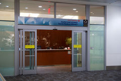 TORONTO, CANADA - JAN 28th, 2017: Air Canada Maple Leaf Lounge at YYZ airport International, main entrance, airport. Interior for frequent flyer Stock Image