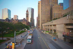 TORONTO,CANADA-JULY 9,2015: A view of Queen street in downtown t Royalty Free Stock Photography