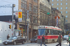 TORONTO,CANADA-March 15,2012: A view of downtown Toronto with th. E 501, an east-west 24km  streetcar route operated by the Toronto Transit Commission (TTC), the Stock Image