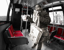 Woman riding the TTC in Toronto. Toronto, Canada - March 27: Woman riding the TTC or Toronto Transit Commission a transportation system to be renew, redesigned Stock Image